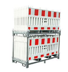Storage and transport rack for portable crash barriers